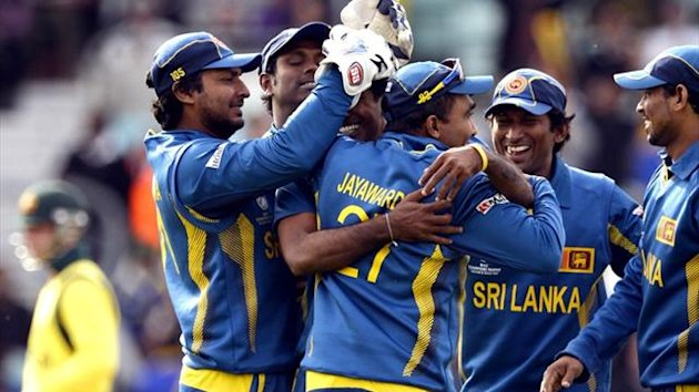 Sri Lanka celebrate beating Australia in the Champions Trophy (AFP)