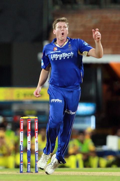 James Faulkner reacts to a good delivery during match 30 of the Pepsi Indian Premier League between The Chennai Super Kings and the Rajasthan Royals held at the MA Chidambaram Stadium in Chennai on th