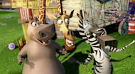 "This film image released by DreamWorks Animation shows, Gloria the Hippo, voiced by Jada Pinkett Smith, left, Melman the Giraffe, voiced by David Schwimmer, center, and Marty the Zebra, voiced by Chris Rock, in a scene from ""Madagascar 3: Europe's Most Wanted."" (AP Photo/DreamWorks Animation - Paramount Pictures)"