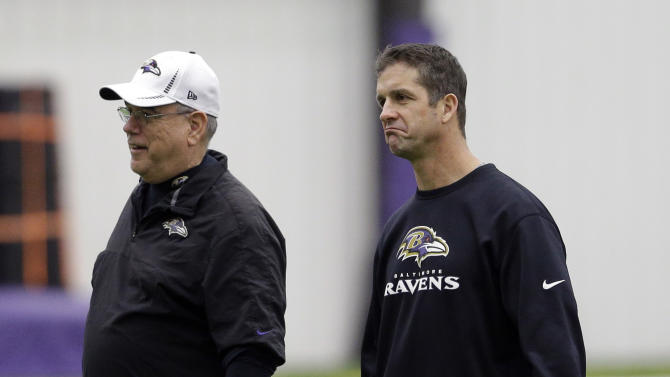 Baltimore Ravens head coach John Harbaugh, right, chats with defensive coordinator Dean Pees after NFL football practice at the team's training facility in Owings Mills, Md., Friday, Jan. 25, 2013. The Ravens are scheduled to face the San Francisco 49ers in Super Bowl XLVII in New Orleans on Sunday, Feb. 3. (AP Photo/Patrick Semansky)