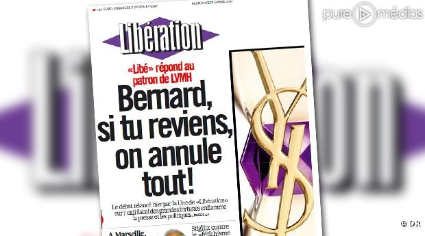 Libration  sa Une mardi : Bernard, si tu reviens, on annule tout !