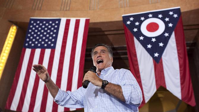 FILE - In this Sept. 1, 2012 file photo, Republican presidential candidate, former Massachusetts Gov. Mitt Romney speaks during a campaign rally in Cincinnati, Ohio. This year, the presidential race may come down to an even narrower slice of the electorate than simply the nine states where both Obama and Romney are aggressively competing: Florida, Ohio, Virginia, Colorado, Iowa, Nevada, New Hampshire, North Carolina and Wisconsin.  (AP Photo/Evan Vucci, File)