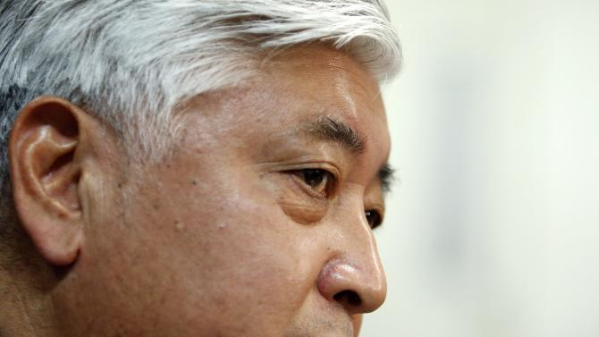 Japan's new Defence Minister Nakatani speaks during a round table interview at the defence ministry in Tokyo
