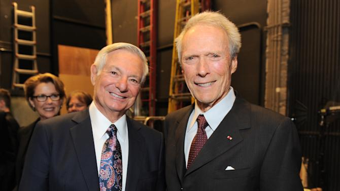 EXCLUSIVE CONTENT - Distinction in service award winner Bruce Ramer, left, and Clint Eastwood attend the Backstage at the Geffen gala at the Geffen Playhouse on Monday, May 13, 2013, in Los Angeles. (Photo by Jordan Strauss/Invision for Geffen/AP Images)