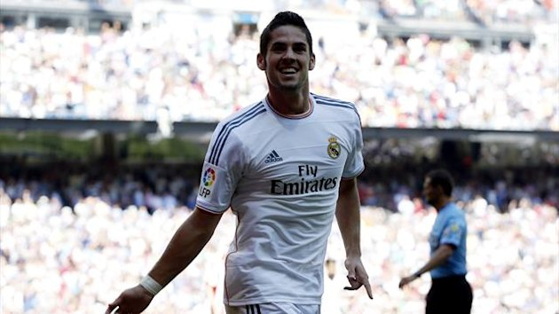 DATE IMPORTED:September 1, 2013Real Madrid's Isco celebrates scoring his goal during their Spanish first division soccer match against Athletic Bilbao (Reuters)