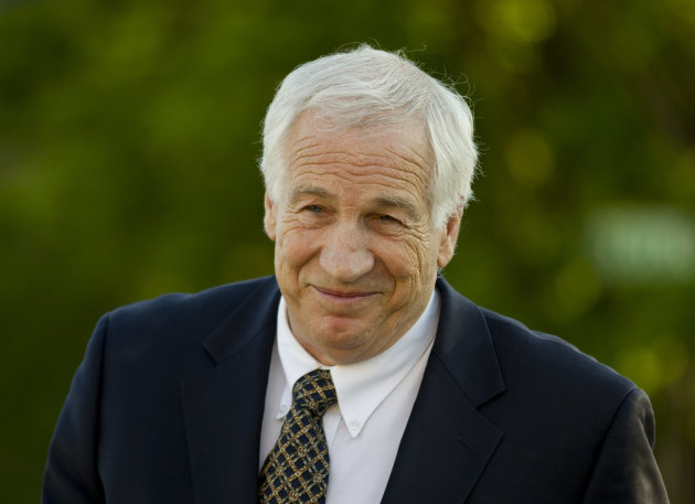 FILE - This April 5, 2012 file photo shows Jerry Sandusky arriving at the Centre County Courthouse in Bellefonte, Pa. Sandusky, facing trial next week on charges he sexually abused 10 boys, on Thursda