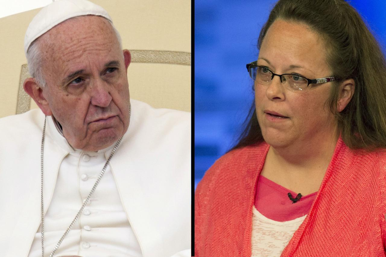 The real story behind the particular popes meeting together with Kim Davis
