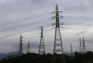 Power transmission towers are seen near the plant of new Shin Kori No. 3 reactor and No. 4 reactor of state-run utility Korea Electric Power Corp (KEPCO) in Ulsan