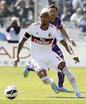 AC Milan's Kevin Prince Boateng, of Ghana, controls the ball during a Serie A soccer match between Fiorentina and AC Milan, at the Artemio Franchi stadium in Florence, Italy,  Sunday, April 7,  2013. (AP Photo/Fabrizio Giovannozzi)