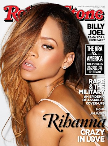 This magazine cover image released by Rolling Stone shows performer Rihanna on the cover of the February 2013 issue of the popular music magazine. Rihanna talks about getting back together with her ex-boyfriend, Chris Brown, and what it means for her public image. &quot;I decided it was more important for me to be happy,&quot; she tells the new issue of Rolling Stone. &quot;I wasn&#39;t going to let anybody&#39;s opinion get in the way of that. Even if it&#39;s a mistake, it&#39;s my mistake. Brown assaulted the pop starr after a pre-Grammy Awards party in 2009. The issue hits news stands on Friday, Feb. 1. (AP Photo/Rolling Stone)