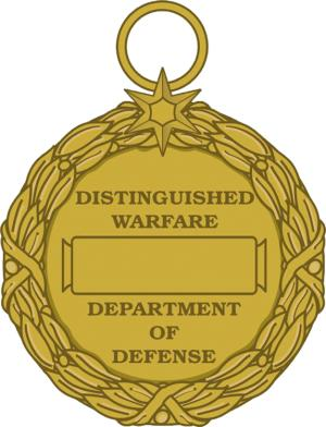 This image released by the Defense Department shows the reverse view of the newly announced Distinguished Warfare Medal. Defense Secretary Chuck Hagel is canceling the creation of a new military medal for drone and cyber warriors, and instead wants military leaders to develop a special pin or device that would be attached to already existing medals or ribbons.  (AP Photo/Department of Defense)