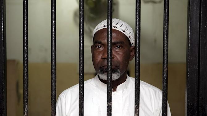 File picture of Anderson from Ghana waiting in a holding cell in the South Jakarta court