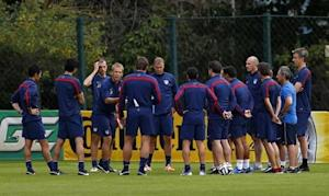 U.S. national soccer team coach Juergen Klinsmann talks to his team during a training session at the team's training center in Sao Paulo