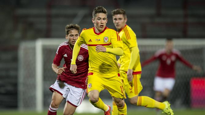 Wales' Harry Wilson, Denmark's Andrew Hjulsager, and Wales' Declan John battle for the ball during their European Under-21 Championship 2017 qualifying round soccer match at Aalborg