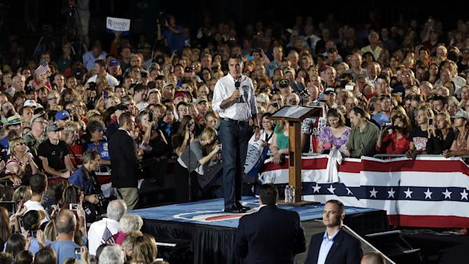 Republican presidential candidate and former Massachusetts Gov. Mitt Romney campaigns at D'Evelyn High School in Denver, Sunday, Sept. 23, 2012. (AP Photo/Charles Dharapak)