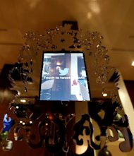 The Twitter Mirror that is going to be used during the Oscars is seen backstage at the 85th Academy Awards in Los Angeles, Friday, Feb. 22, 2013. The Academy Awards will be held Sunday, Feb. 24, 2013. As part of its push to attract younger viewers to the Oscars, the Academy of Motion Picture Arts and Sciences is working to make the show a two-screen experience by offering new camera perspectives and interactive features on its website. (Photo by Matt Sayles/Invision/AP)