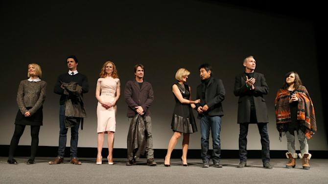 """From left, actors Mia Wasikowska, Matthew Goode, Nicole Kidman, Dermot Mulroney, Judith Godreche, cinematographer Chung-hoon Chung, producer Michael Costigan and composer Emily Wells speak onstage at Fox Searchlight's """"The Stoker"""" premiere during Sundance Film Festival on Sunday, Jan. 20, 2012 in Park City, Utah. (Photo by Todd Williamson /Invision for Fox Searchlight/AP Images)"""