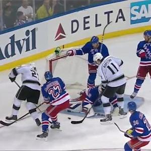 Henrik Lundqvist sprawls and stops three
