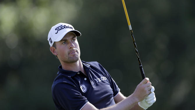 Webb Simpson drives on the second tee in the third round of the Northern Trust Open golf tournament at Riviera Country Club in the Pacific Palisades area of Los Angeles Saturday, Feb. 16, 2013. (AP Photo/Reed Saxon)
