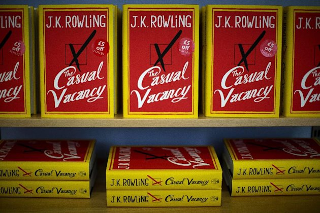"Copies of the ""The Casual Vacancy"" by author J.K. Rowling are displayed on shelves at a book store in London, Thursday, Sept. 27, 2012. British bookshops are opening their doors early as Harry Potter author J.K. Rowling launches her long anticipated first book for adults. Publishers have tried to keep details of the book under wraps ahead of its launch Thursday, but ""The Casual Vacancy"" has gotten early buzz about references to sex and drugs that might be a tad mature for the youngest ""Potter"" fans. (AP Photo/Matt Dunham)"