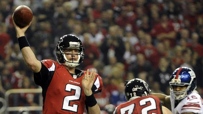 Atlanta Falcons quarterback Matt Ryan (2) works against the New York Giants during the first half of an NFL football game on Sunday, Dec. 16, 2012, in Atlanta. (AP Photo/John Amis)