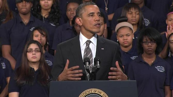 Obama talks violence at Hyde Park school