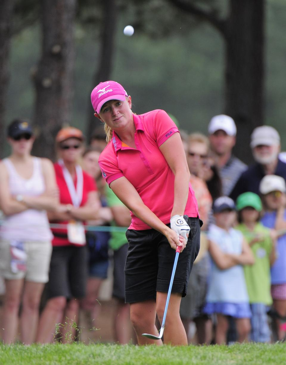 Stacy Lewis chips to the second hole during the second round of the Women's U.S. Open golf tournament at the Broadmoor Golf Club on Friday, July 8, 2011, in Colorado Springs, Colo. (AP Photo/Mark J. Terrill)