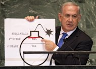 "Benjamin Netanyahu, Prime Minister of Israel, uses a diagram of a bomb to describe Iran's nuclear program at the United Nations on September 27. Western powers stepped up pressure on Iran, as Israel's Prime Minister Benjamin Netanyahu and US President Barack Obama stressed their ""shared goal"" to stop Iran getting a nuclear bomb"