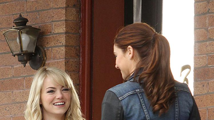 Emma Stone and Shailene Woodley spotted shooting 'The Amazing Spider Man 2' in Brooklyn, NYC