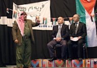 Image provided by Amman&#39;s Concorde Theatre shows (L-R) Jordanian comedian Musa Hijazin in the role of Abu Saqer, actor George Hijazin playing the role of Jordan&#39;s prime minister and Hikmat Darwish impersonating a senior official in the play &quot;Now, I understand You&quot; in Septemer 2011. Every week, Jordanians pack the theatre to laugh at the shortcomings of their government