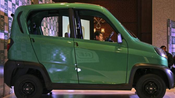 File photo shows Bajaj's Managing Director Rajiv pictured the windows of the RE60 in New Delhi