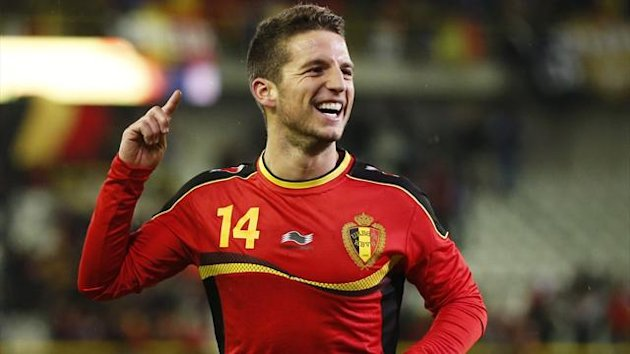Belgium's Dries Mertens celebrates after scoring against Slovakia during their international friendly match at Jan Breydel stadium in Bruges February 6, 2013. (Reuters)