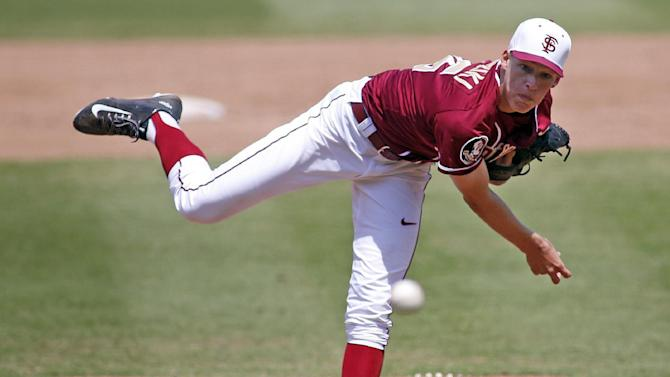 Florida State's Boomer Biegalski (36) delivers a pitch during the sixth inning of an Atlantic Coast Conference NCAA college baseball tournament championship game in Durham, N.C., Sunday, May 24, 2015. Florida State won 6-2.  (AP Photo/Karl B DeBlaker)