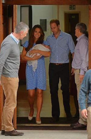 Kate and William exit the Lido wing of St. Mary's with their newborn, London, July 23, 2013 -- Getty Images