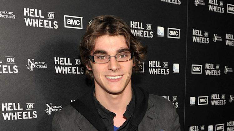 "RJ Mitte arrives at the premiere of AMC's ""Hell on Wheels"" at LA Live on October 27, 2011 in Los Angeles, California."