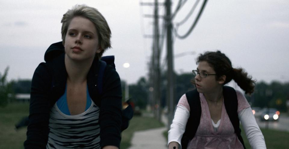 "In this publicity image released by Sundance Selects, Claire Sloma, left, and Annette DeNoyer are shown in a scene from ""The Myth of the American Sleepover."" (AP Photo/Sundance Selects)"
