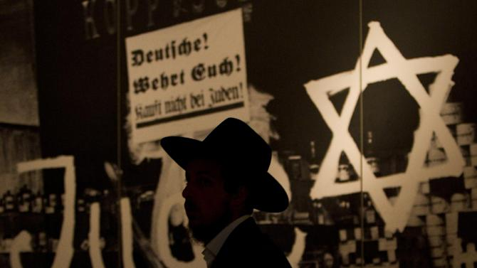 An ultra Orthodox Jewish man visits the Yad Vashem Holocaust Museum in Jerusalem, Wednesday, April 18, 2012. Israel will be marking its annual remembrance day for the six million Jews killed by the Nazis in World War II on Thursday. (AP Photo/Ariel Schalit)