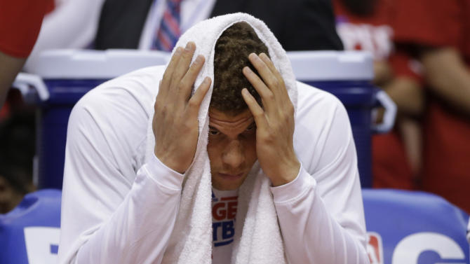 Los Angeles Clippers' Blake Griffin sits on the bench during the second half in Game 5 of a first-round NBA basketball playoff series against the Memphis Grizzlies in Los Angeles, Tuesday, April 30, 2013. The Grizzlies won 103-93. (AP Photo/Jae C. Hong)