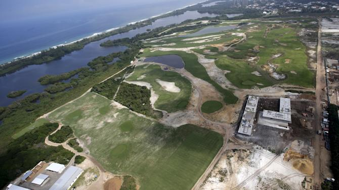 An aerial view of the construction site of the Rio 2016 Olympic Golf venue in Rio De Janeiro