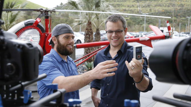 IMAGE DISTRIBUTED FOR WATER.ORG - (left to right) YouTube star ShayCarl interviews Water.org's Matt Damon after he announces a toilet strike in protest of the 2.5 billion people who lack access to safe water and sanitation, and asks for help at http://strikewithme.org as of Tuesday, Feb. 12, 2013 in Los Angeles. (Photo by Todd Williamson/Invision for Water.org/AP Images)