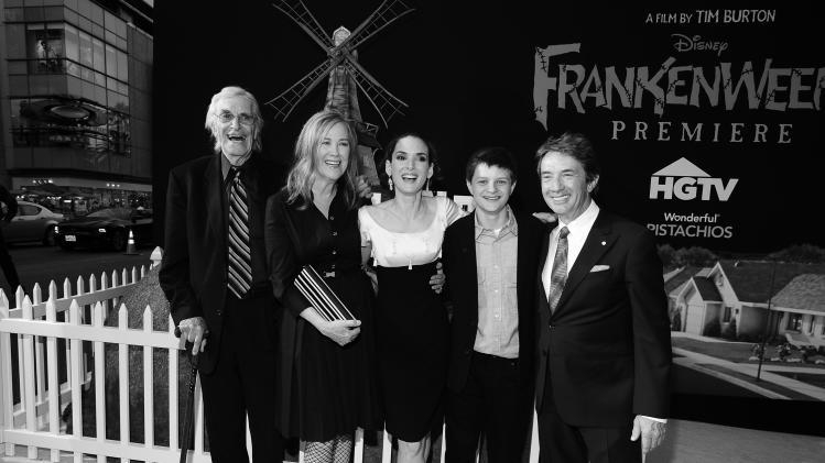 From left, actors Martin Landau, Catherine O'Hara, Winona Ryder, Charlie Tahan and Martin Short arrive at the premiere of Disney's stop-motion animated full length black and white film 'Frankenweenie' directed by Tim Burton on Monday Sept. 24, 2012, in Los Angeles. (Photo by Jordan Strauss/Invision for Disney/AP Images)