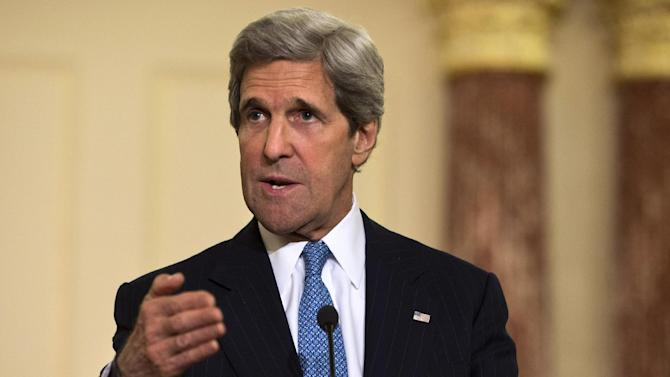 FILE - In this April 2, 2013 file photo, Secretary of State John Kerry speaks at the State Department in Washington. U.S. and Turkish officials say Secretary of State John Kerry is traveling to Turkey and Israel this weekend to build on the two nations' efforts to repair ties. (AP Photo/Jacquelyn Martin, File)