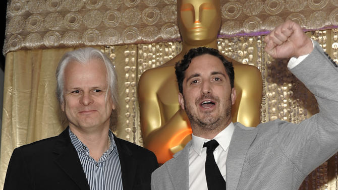 "Cinematographer Claudio Miranda, left, and director Pablo Larraín pose together during the The Oscars Foreign Language Film Award Directors Reception at The Academy of Motion Picture Arts and Sciences in Beverly Hills, Calif. on Friday, Feb. 22, 2013. Larraín's feature film ""No"" is nominated for Best Foreign Language Film. (Photo by Dan Steinberg/Invision/AP)"