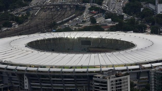 An aerial view shows the final touches of the roof installation at the Maracana Stadium, which is undergoing renovation for the 2014 World Cup (Reuters)