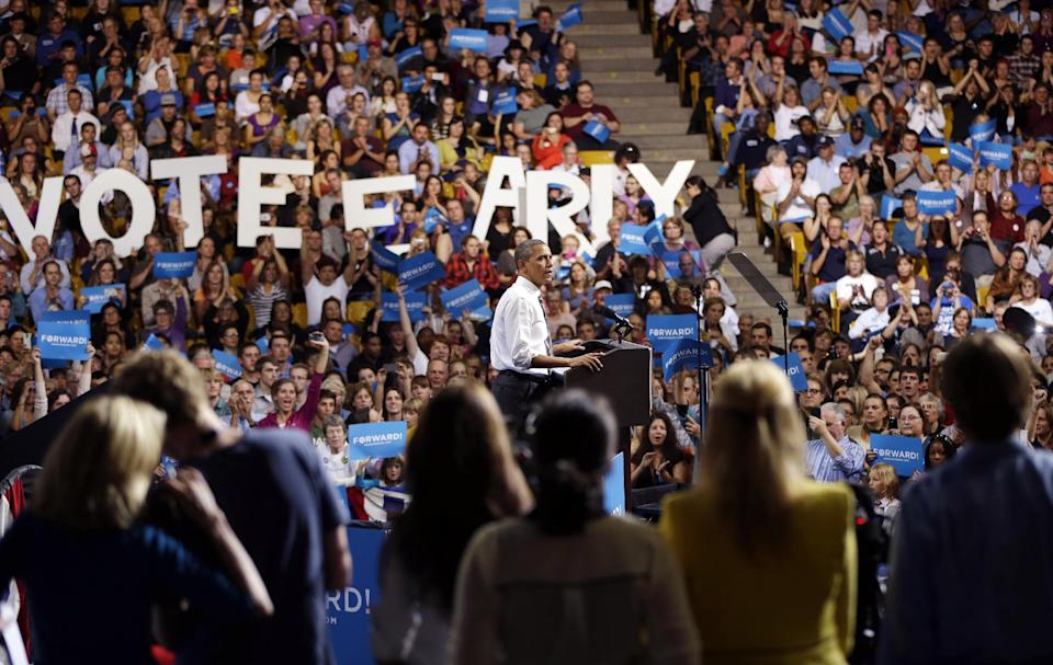 President Barack Obama speaks during a campaign event at the University of Colorado - Boulder, Thursday, Nov. 1, 2012, in Boulder Colo. (AP Photo/Pablo Martinez Monsivais)