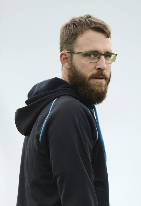 New Zealand's Vettori looks on during a training session before their second test cricket match against England at Headingley cricket ground in Leeds