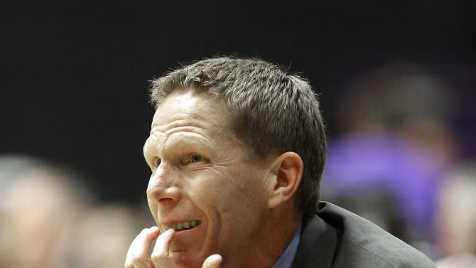 Gonzaga coach Mark Few watches from the bench during the second half of an NCAA college basketball game against Portland in Portland, Ore., Thursday, Jan. 17, 2013.  Gonzaga won 71-49.(AP Photo/Don Ryan)