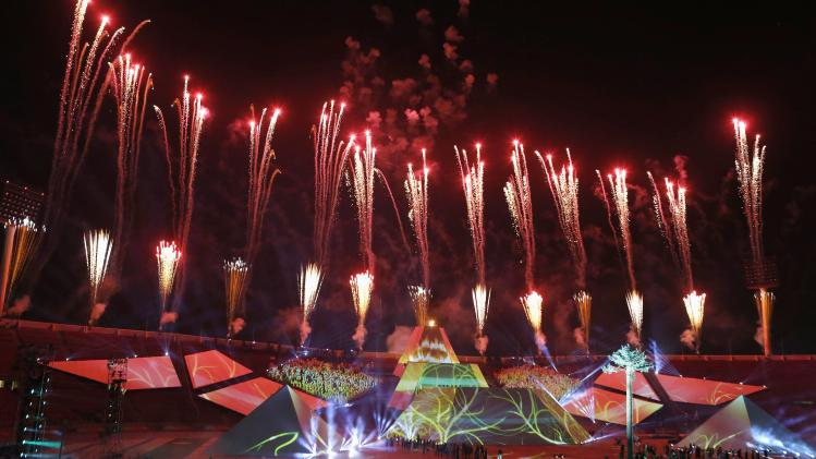 Fireworks explode during opening ceremony of the tenth South American Games in Santiago