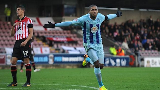 Coventry City's Leon Clarke celebrates after scoring his second goal of the game against Sheffield United (PA Photos)