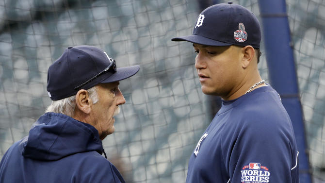 Detroit Tigers manager Jim Leyland talks to Miguel Cabrera before Game 4 of baseball's World Series against the San Francisco Giants Sunday, Oct. 28, 2012, in Detroit. (AP Photo/David J. Phillip)